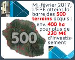500 terrains acquis